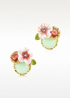Les Nereides  Eclatante Discretion Round Stone, Flower and Strass  Earrings
