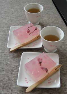 Japanese Snack: Sakura jelly served with Kyoto Bancha, big leaves not the twig tea normally called Bancha.