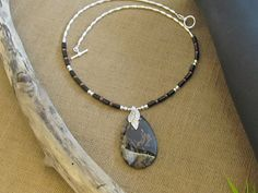 One of a Kind Black Moss Agate Sterling Silver by sharonmetcalf, $68.95