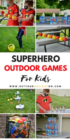 9 of the best Superhero outdoor games I've seen! #momlife #disney #birthday #party