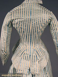 PINGAT 3 PIECE STRIPED SILK DRESS, Invaluable is the world's largest marketplace for art, antiques, and collectibles. 1880s Fashion, Victorian Fashion, Paris Fashion, Vintage Fashion, French Fashion, Victorian Era, 1800s Clothing, Clothing And Textile, Antique Clothing