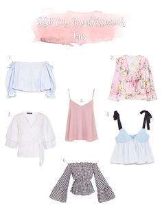 SS17 Fashion Essentials for any city break you have planned. These tops follow on trend colours and styles including baby blue, white, floral and gingham.