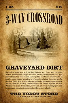 Crossroad Graveyard Dirt : The Vodou Store Hoodoo Spells, Wiccan Spells, Magic Spells, Witchcraft, Easy Spells, Male Witch, Voodoo Hoodoo, Eclectic Witch, Witch Spell