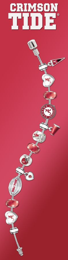 Sport your true Alabama pride with this Crimson Tide charm bracelet.