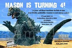 Personalized Godzilla birthday party invitations