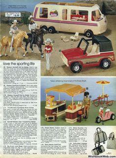 Sears Christmas Catalog -I had the horse and Ken doll Barbie Camper, Barbie House, Barbie Dream, Childhood Toys, Childhood Memories, Vintage Advertisements, Vintage Ads, Christmas Catalogs, Barbie Accessories