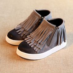 Winter Children's Fringe boots girls winter warm boots Kids flat ...