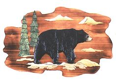 This unique piece of Intarsia wood art features a black bear as he wanders through his forested home in the mountains. This Intarsia style of wood art is made from several species of wood and hand painted to give a realistic 3-D appearance.