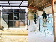左:立派な縁側 右:箱庭メンバーも壁塗り体験