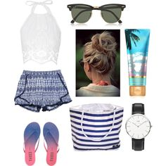 Sea by marta-garbatello on Polyvore featuring Miguelina, Wet Seal, Tkees, Daniel Wellington and Ray-Ban