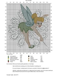 Free Tinker Bell cross stitch pattern.
