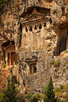 The Hellenistic temple fronted Tombs of Kaunos, - cent.C , just outside the archaeological site of Kounos on the opposite side of the Calbys river from Dalyan, Turkey. Kaunos is on the border of Lycia & Caria. - by Paul Randall Williams 2012 Places Around The World, Oh The Places You'll Go, Places To Travel, Around The Worlds, Architecture Antique, Ancient Ruins, Ancient Tomb, Mayan Ruins, Ancient Artifacts