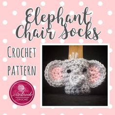 Includes three sock Sizes: Small: across Medium across Large: across Skill Level: Moderate Crochet Amigurumi Free Patterns, Free Crochet, Crochet Ideas, Barber Chair Vintage, Crochet Furniture, Chair Socks, Upholstered Swivel Chairs, Fabric Dining Chairs, Elephant