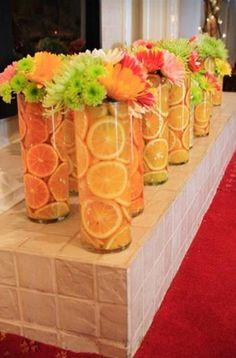 Summer Wedding Centerpieces Ideas, Summer centerpieces orange green yellow with fresh fruit Orlando wedding flowers www.loveitsomuch.com