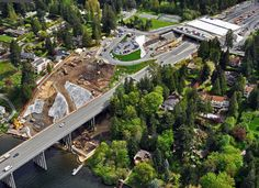 May 2, 2012 - An aerial photographer captures the freshly cleared waterfront access area being used by crews working to replace the vulnerable SR 520 floating bridge and East Approach as part of the SR 520 Floating Bridge and Landings Project.