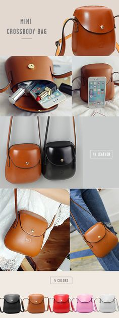 [$ 12.26]   Women PU Leather Mini Crossbody bag Bucket Bag Phone Bag