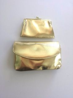 VINTAGE GOLD COLOR PURSE BAG WALLET CHECK BOOK COIN PATCH WOMENS ZIPPER #Unbranded #Clutch