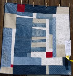 Blue and red modern quilt. Diana Jackson's Gee's bend-inspired Red Square. 2014 Sisters Outdoor Quilt Show, photo by Reanna Rosemarie Alder Patchwork Quilting, Scrappy Quilts, Denim Quilts, Strip Quilts, Quilt Blocks, Patch Quilt, Quilting Projects, Quilting Designs, Gees Bend Quilts
