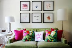 Colorful & feminine. Get It Girl pillow //Home Tour with Devon Dyer of DevonRachel.com / Photographed by Jessie Webster for Glitter Guide