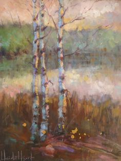 """Dreamland Birches"" 18x15 Landscape Painting by Heidi Hjort at NUMA Gallery"