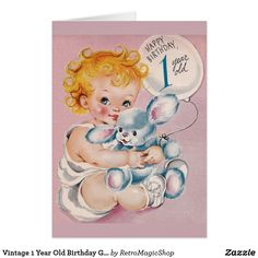 Vintage Happy Birthday 1 Year Old Greetings Card Child Holding Bunny Balloon Happy Birthday 1 Year, Happy Birthday Vintage, Happy 1st Birthdays, 1st Birthday Girls, Old Greeting Cards, Old Cards, Birthday Greeting Cards, Birthday Greetings, Baby Illustration