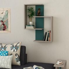 Unusual design, featuring style and practicality, this modern wall shelf would be a great addition to any home, office. Material: MDF board with PVC edge bands for max. Easy self assembly Coaster Furniture, Home Decor Furniture, Bedroom Furniture, Rustic Furniture, Wall Shelves Design, Shelf Wall, Corner Shelving, Shelving Ideas, Turquoise Walls