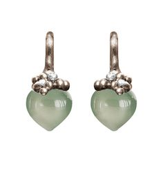 Ole Lynggaard Copenhagen Dew Drop Earrings (large) Green Aquamarine cabochon drops with diamonds in 18ct white gold - Kennedy Jewellers