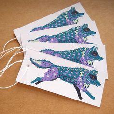 Wolf swing tags pack of 4 gift tags by Ellareki on Etsy, £1.20