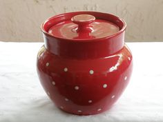 Pottery Crock/Canister  1.5 Quart  Red With by vdavidsonpottery