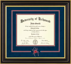 University of Richmond Diploma Frame-Satin Black-w/UR Seal-Navy/Red – Professional Framing Company Unique Graduation Gifts, Embossed Seal, University Of Richmond, Diploma Frame, Bachelor Of Arts, Library Of Congress, Custom Framing, Frames, Satin