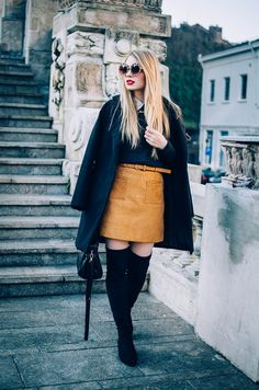 24 Perfect Thigh High Boots for Winter Street Style Outfit Ideas - Outfitcast - Stylish Winter Outfits, Fall Winter Outfits, Cool Outfits, Fashion Outfits, A Line Skirt Outfits, A Line Skirts, Short Skirts, Long Plaid Skirt, Over The Knee Boot Outfit