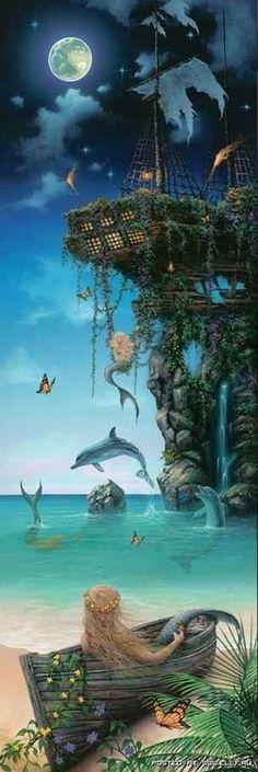 Beautiful lounging mermaid and her fantasy ship.