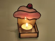 Stained Glass Candle Holder Cupcake White and Pink