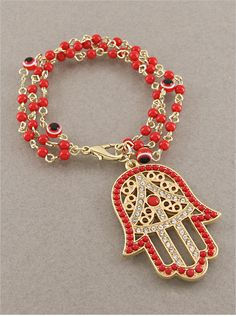 Red Hamsa & Evil Eye Bracelet from P.S. I Love You More. Shop online at: psiloveyoumore.storenvy.com