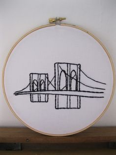 Items similar to Brooklyn Bridge - Hand Embroidered Wall Hanging Art on Etsy Brooklyn Baby, Brooklyn Bridge, Bridge Tattoo, Bridge Drawing, Brooklyn Tattoo, Story Tattoo, New York Tattoo, Unusual Baby Names, Wedding Table Names