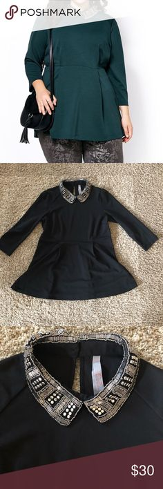 Melissa McCarthy seven7 embellished peplum top In excellent condition no flaws. Size medium. Color of the top is black. Stock photo used for modeling purposes. Keyhole  button on the back neckline Melissa McCarthy Seven7 Tops Blouses