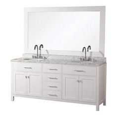 """DESIGN ELEMENT - London 61"""" Double Sink Vanity Set, White - The 61"""" London double-sink vanity in white is elegantly constructed of quality woods. The classic beauty of the white Carrara marble countertop and the contemporary style of the white cabinetry bring a crisp and clean look to any bathroom. Seated at the base of the two ceramic sinks are chrome finish pop-up drains, designed for easy one-touch draining. A large white framed mirror is included. This beautiful vanity has ample storage…"""