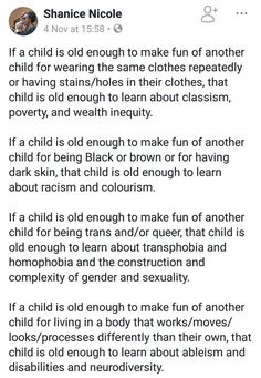 "Honestly I don't think children are ever ""too young"" to learn about these things. Especially seeing as the children facing these issues & prejudices are usually born having to deal with them. Printable Poster, Parenting Done Right, Parenting 101, Def Not, Faith In Humanity, Social Issues, Social Justice, In This World, Equality"