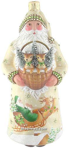 Dearest Claus (Crème/Green) Patricia Breen Designs (Brown, Cream, Green, Pine Trees, Reindeer, Santa, Sleigh, Snowflakes, Tree Adornment)