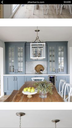 Beautiful Dining Room With Built In Sideboard Accented With Polished Nickel Hardware And A