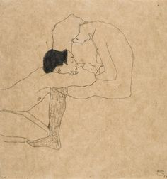 EGON SCHIELE 1890 - 1918 LIEBENDE (LOVERS) signed with the monogram (lower right) pencil and coloured crayon on paper 31.5 by 29.5cm., 12 3/...