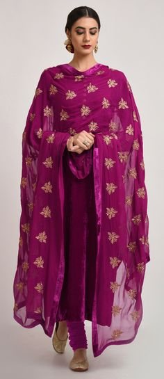 Purplish Magenta Silk Velvet Tilla Embroidered Suit With Dupatta