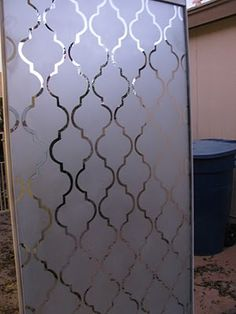 Frosted Mirror Closet Doors... I want add a waterproof spray coat and do this on our shower doors!