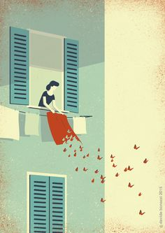 Spring Cleaning Illustration, conceptual,stylized, editorial, advertising,  http://wvw.salzint.com/davide-bonazzi.html