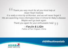 Another heartfelt & warm testimonial! #AsianHeartInstitute #AHItestimonials