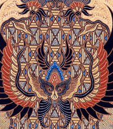 Batik Sawat or Lar. The motifs of the Solo design are related to the Hindu-Javanese culture: the Sawat symbol of the crown or highest power , the Meru symbol of mountain or earth.