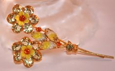 Vintage Flower Bouquet Rhinestone glass and by SVintageCollection, $65.00