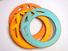 Orange  Wood Geometric Bangle ,neon Wood Bracelet,  ,Geometric Jewelry