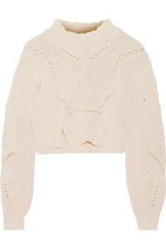 6d2f918f2f2d Isabel Marant - Gane cropped pointelle-trimmed cotton and wool-blend sweater