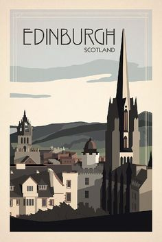 Edinburgh, Scotland Travel Poster inspired by vintage travel prints from 19th century golden age of poster design